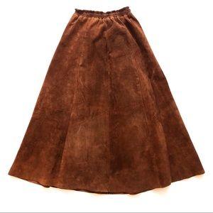 Vintage Real Leather Suede Pleated Midi Skirt